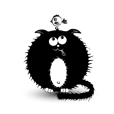 fat bird: Illustration of a black fat cat and the bird Fat black cat with a white belly hunts small bird