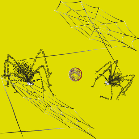 four eyes: Illustration ball spiders game Picture between the web strands play ball two spider on a yellow background for decoration and design