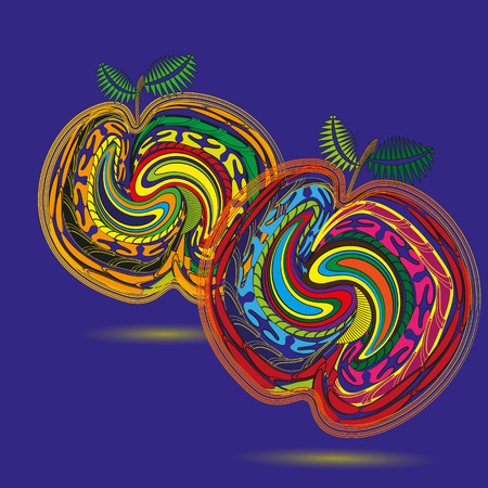 primitivism: Drawing two bright peach Illustration Two bright peach in the style of primitivism ornament on a blue background for decoration and design