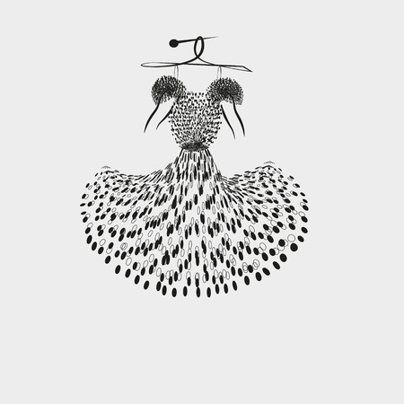clothing rack: Illustration of a light summer dress Drawing black white light summer dress in black peas with short sleeves are for decoration and design