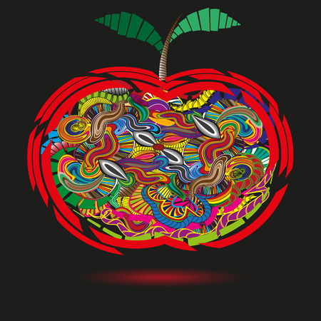 fruit stem: Bright apple in the primitive style doodle Illustration of a bright red apple in the primitive style doodle with leaves and fruit stem for decoration and design