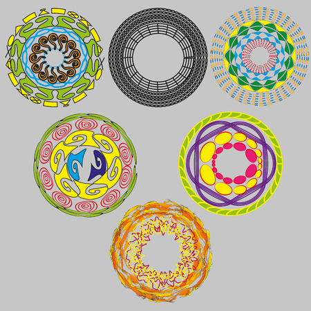 image size: Set of six round ornaments Illustration set of six original circular ornaments on a gray background for decoration and design or the use of a logo Illustration