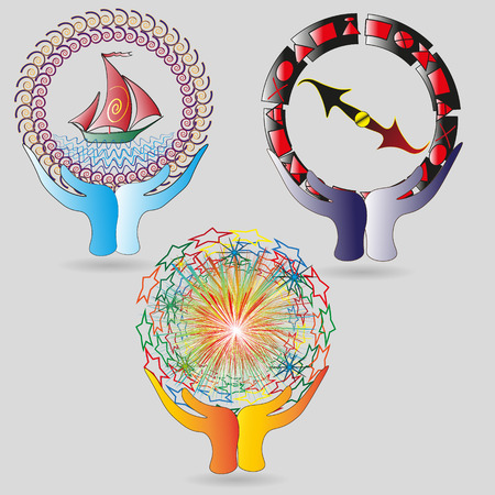 image size: Set of logos the world in his hands Illustration set of colorful logos round the world in his hands for decoration and design Illustration