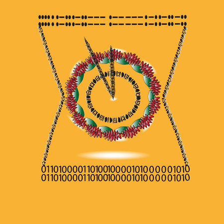 inscribed: Illustration watch Morse code and binary Drawing on a dark yellow background watch Morse code and binary, hello world, inscribed in the hourglass mechanical watches for decoration and design