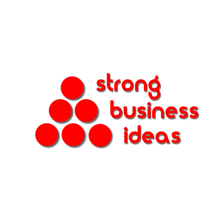 solidity: Strong business ideas logo Pyramid of red dots with shadow indicating the strength and solidity of the company s logo Illustration
