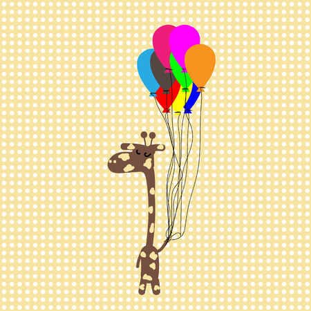camelopard: Funny camelopard in yellow dots background funny giraffe flying on balloons on vintage yellow background with white polka dots