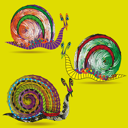 molluscs: Drawing set of three snails Set of three bright snail painted with various ornaments with elements doodle style image on a yellow background for decoration and design