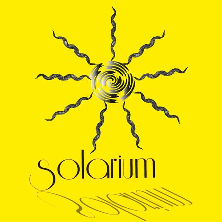 solarium: Illustration vector interior solarium Vector image salon sunbathing solarium on the yellow background of the sun in the center and the inscription with shadow for decoration and design Illustration