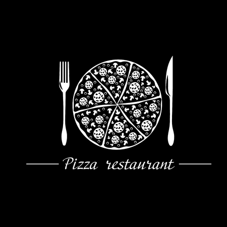 pizzeria label design: Logo pizza restaurant Pizza restaurant logo illustration on a black background with a fork and a knife and a large Italian pizza Illustration