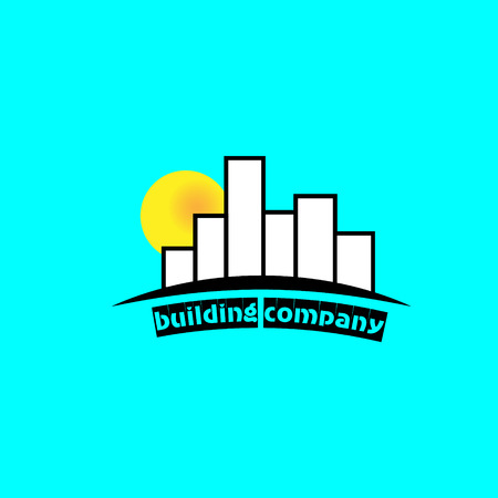 tall buildings: Building company logo logo construction company of tall buildings in the background sun dawn Illustration