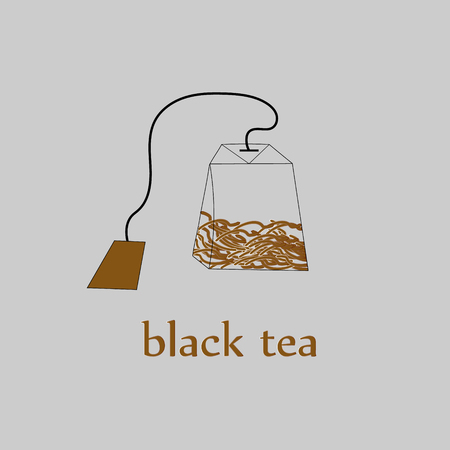 english culture: Black tea bag with leaves Bag of black tea with large leaves on a string inside