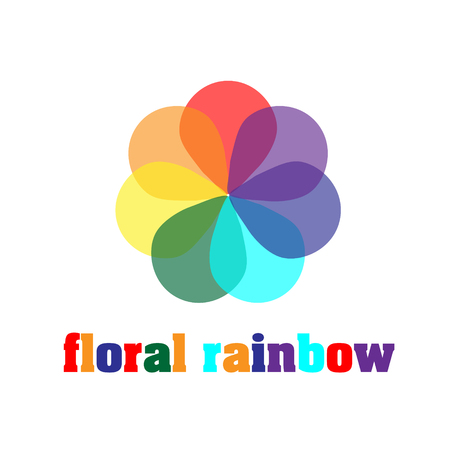 flower petals: Floral rainbow company logo Colorful like a rainbow flower with seven petals for decoration or design logo