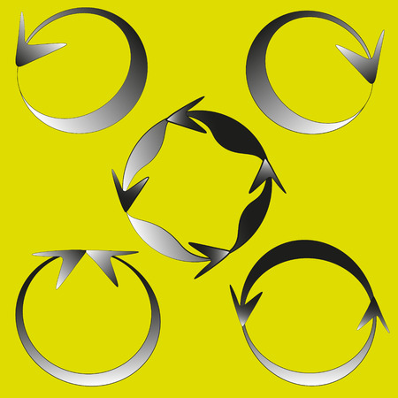image size: Round arrows vector illustration Drawing on a yellow background set of five black circular arrow vector image for decoration and design Illustration