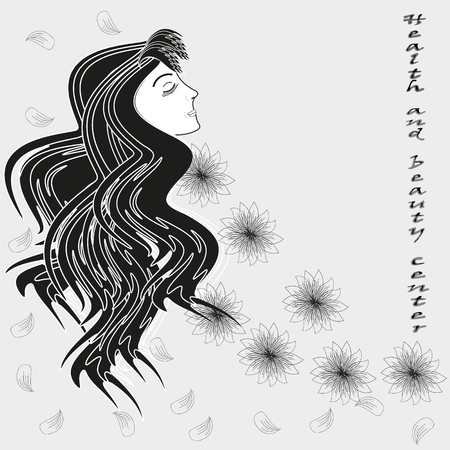 beauty center: Beauty plus health vector illustration Vector illustration black and white on a gray background drawing a girl with long hair, flowers and petals label health and beauty center Illustration