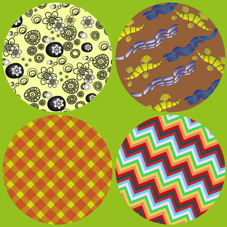 A set of four circles with decorative pattern Figure set of four circles with decorative pattern in flower, zigzag, diagonal cell and abstraction for decoration and design