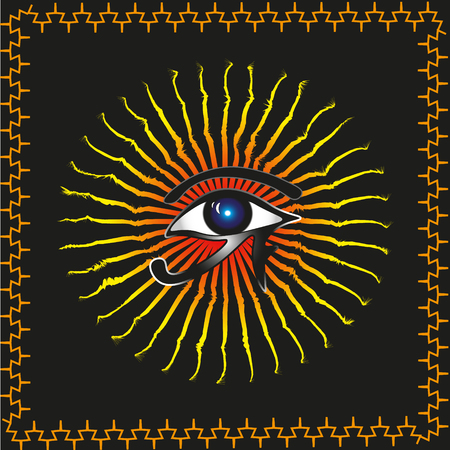 ra: Abstraction Vector Eye of Ra Abstraction vector of a black background on a contour of the image ethnic ornament in the center of the sun god Ra and eye for decoration and design Illustration