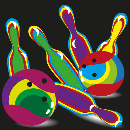 image size: Colorful skittles and bowling balls vector illustration Drawing on a black background five colorful skittles bowling and two bowling balls, vector illustration for decoration and design