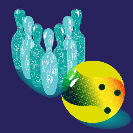 image size: Illustration vector of six skittles for bowling and bowling ball Vector illustration on a blue background with a pattern of ten pins and colorful bowling ball for decoration and design