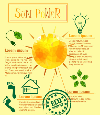 sun energy: Illustration vector infographic power of the sun Illustration vector infographic power of the sun on a yellow background of clean energy for the planet and people