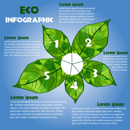 environmental issues: Eco green info graphic concept poster vector illustration Infographic with triangular leaves and inscriptions options on environmental issues on a blue background