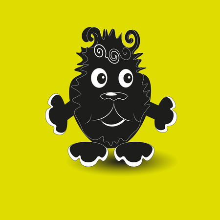 image size: Good monster vector illustration Good black monster with claws, eyes and nose funny on yellow background vector illustration