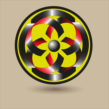 image size: Ornament in the shape of a shield vector illustration Pattern in the shape of a shield of black and red stripes with a gray ball in the middle of the circle on a beige background vector illustration Illustration