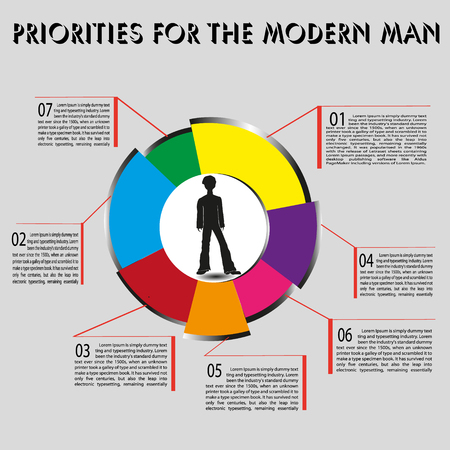 priorities: Infographics priorities of modern man vector illustration Infographics priorities of modern man on a gray background seven colored sector with the designation numbers and text description vector illustration Illustration