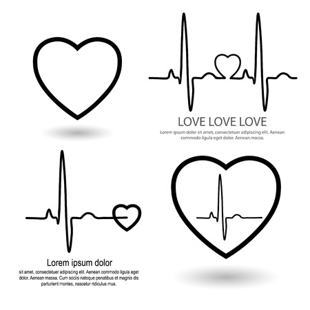 rhythm: Cardio heart set for clinic set for cardio clinic rhythm ECG heart icons with text Illustration