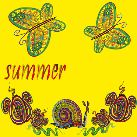 image size: Bright illustration of summer on a yellow background with butterflies, flowers and a snail