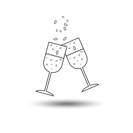 champagne glasses: Super party glass of champagne two glasses of champagne to clink glasses with champagne splashes and bubbles on a white background