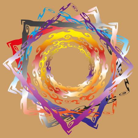 pastel tone: Decorative frame in ethnic style vector illustration Vector illustration decorative frame in ethnic style painted in pastel tone circle and square, colorful swirls on a brown background