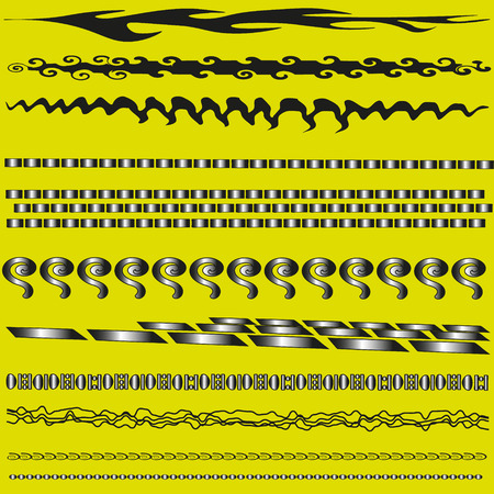 large size: Set of brushes for design vector illustration A set of brushes with the effect of metal decorative black with a pattern of large size on a yellow background for design vector illustration Illustration