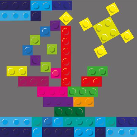 hull: Vector illustration sun and ship of plastic building blocks Ship and sun of plastic building blocks on a gray background vector illustration Illustration