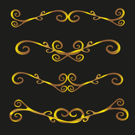 image size: Set of vintage decorative ornaments vector illustration Vector illustration set of vintage decorative ornaments in gold elegant curls pattern on a black background