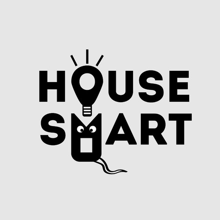 homes: smart house  with cat selling smart homes with a light bulb and cat Illustration