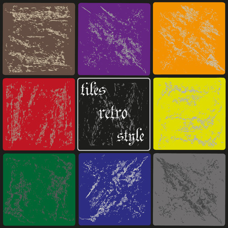 worn: Vector illustration on of retro tiles Vector illustration on black background retro style colorful square tiles worn for decoration and design Illustration