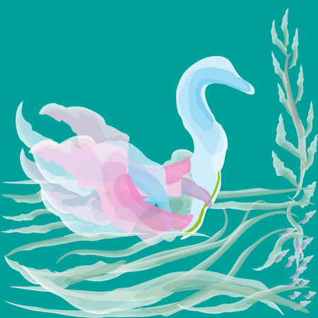 duck green: Vector illustration of watercolor duck Drawing on a green background delicate watercolor duck on the pond waves for decoration and design