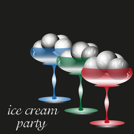 freezer: Vector illustration of an ice cream party Drawing on a black background ice cream party, three glass cream freezer dessert with a scoop of delicious and cold