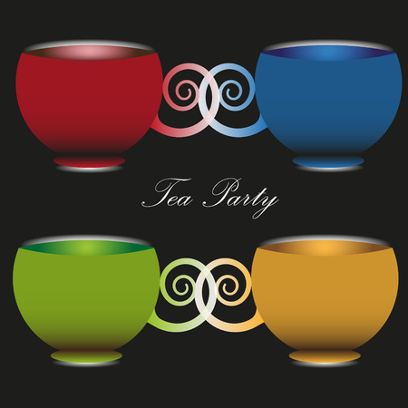 cup four: Vector illustration of a tea party time A set of four colorful cups with handles sculpted tea party time image on a black background