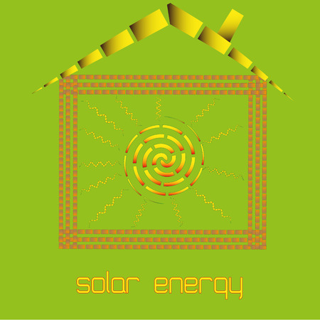 warm house: Solar energy in your home vector illustration Drawing infographics solar energy in your home on a green background. Brick walls and the roof inside the house warm and comfortable Illustration