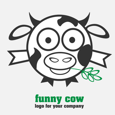 bull shark: Funny cow in the form of a round cow with spots in a humorous style for the company or for design