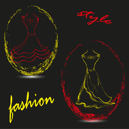 cameo: Vector illustration of style and fashion Drawing two and emblem on a black background image of style and fashion to dress the oval used two colors Illustration