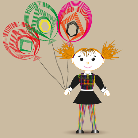 balloon drawing: Vector illustration of a rag doll, and three balloon Drawing on a beige background of a rag doll in a black dress with red hair, and three color balloon