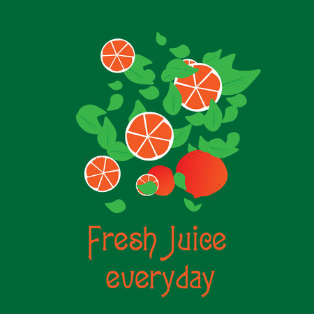 hint: Fresh juice everyday in the form of slices of orange and orange halves with leaves that hint at fresh juice and ekologichnost for the company or for design Illustration