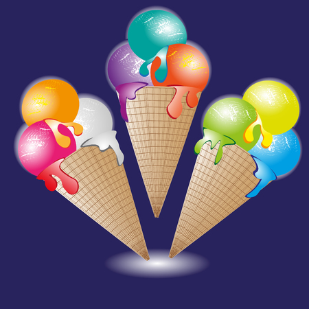image size: Ice cream cone vector illustration Cone ice cream set of three cold delicious dessert image on a blue background
