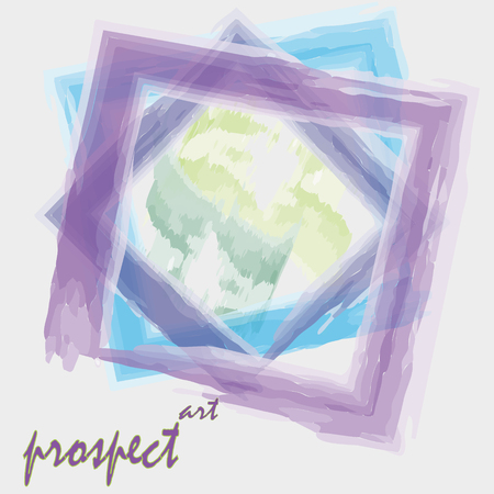 prospect: Drawing prospect vector art watercolor style Vector illustration on a light background Art watercolor style prospect, three square frame