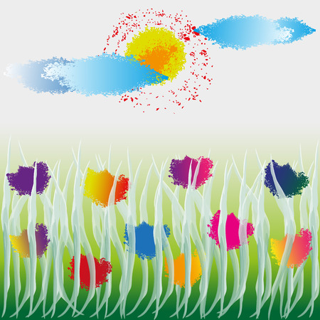 image size: Vector illustration of wildflowers Drawing wild flowers in the grass under the sun and clouds, in the style of water color, splashes and spray, on a light background