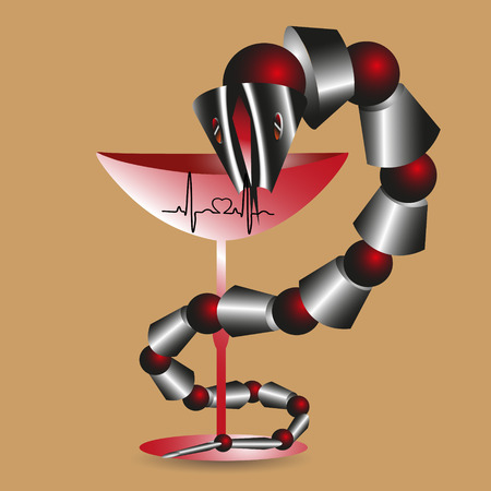 snake and a bowl: Vector illustration of a snake with a red bowl Drawing colorful kite with a red bowl and cardiogram techno style can be used as a medical symbols