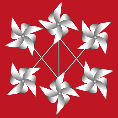 weathervane: Vector illustration weathervane made of paper The image pattern and a set of white weathervane made from a paper on a red background