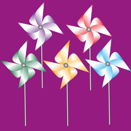 weathervane: Set of five weathervane of colored paper vector illustration Drawing set of five weathervane made from colored paper on a stick on a dark pink background